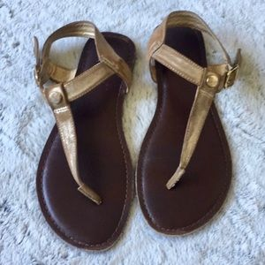 Brown & Gold T Strap Sandals Size 7.5